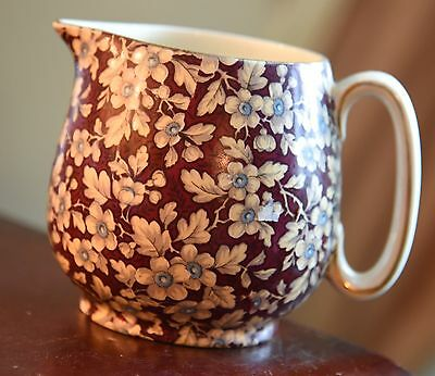 Vintage Lord Nelson Ware Royal Brocade Chintz Brown Burgundy Red Floral Pitcher