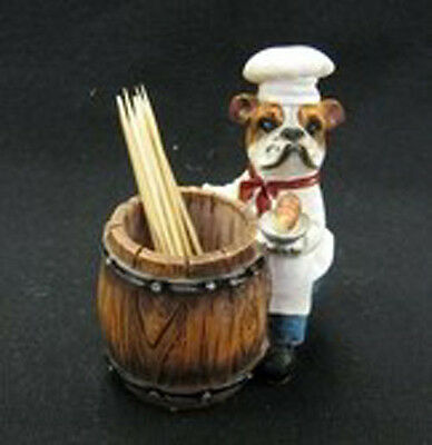 BULLDOG CHEF Dog Toothpick Holder Figurine