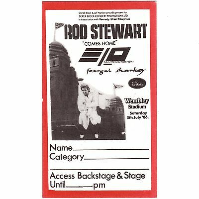 ROD STEWART & ELO & FEARGAL SHARKEY Concert Ticket Backstage Pass 7/5/86 LONDON