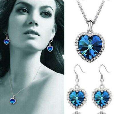 Titanic Heart of the Ocean Blue Crystal Necklace Girlfriend Gift Wedding Jewelry