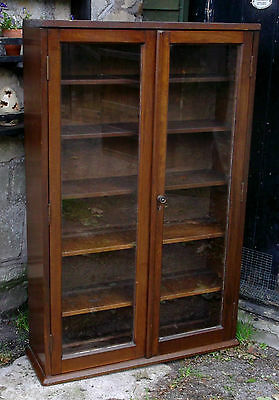 Vintage Edwardian Glass Fronted Bookshelves Display Cabinet Cupboard