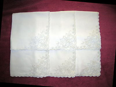 6 Vintage White Broderie Anglaise Hand Embroidered Dinner Napkins