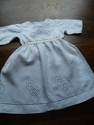 Antique Edwardian hand emb sweet white Irish linen toddler childs doll's dress.
