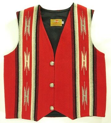 Vintage 60s Chimayo Vest Mens 38 Deadstock Indian Head Metal Buttons Wool