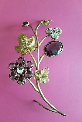 RARE 2 x French Ormolu Gilded Leaves with Crystal Jewel Flower Wall Hanging PAIR