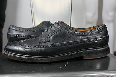 vintage florsheim imperial wingtip shoes 10 C black leather v cleat nail oxfords