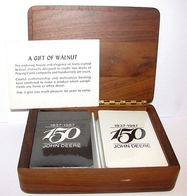 John Deere 150th Anniversary 1837 - 1987 Playing Cards in Walnut Wood Box Sealed