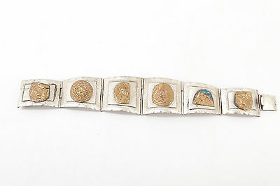 VINTAGE Taxco Mexico Sterling 925 BRASS ACCENT Bracelet