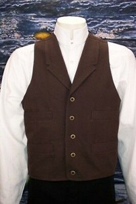 "FRONTIER CLASSICS ""TALL"" Chocolate Old West Frontier Vest Victorian Steampunk"