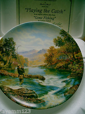Gone Fishing Plate Playing The Catch Graham Twyford Wedgwood Danbury Mint Boxed