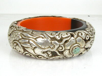 Antique Sterling Silver Turquoise Old Chinese Dragon Bangle Bracelet 117g