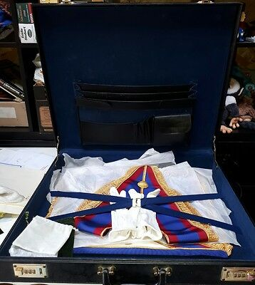 Rare Masonic Regalia Case Master Mason apron collar and gloves stunning lot