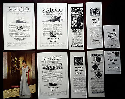 1927-1936 MATSON LINE - Lot of 10 vintage Original ADS Cruise Malolo ship Hawaii