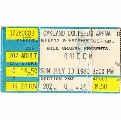 QUEEN Concert Ticket Stub OAKLAND CALIFORNIA 7/13/80 COLISEUM THE GAME TOUR