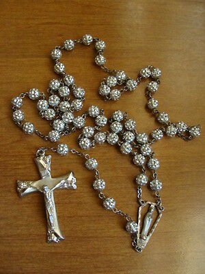 """Vintage Sterling Silver Rosary Ornate Roses On Crucifix  22.75"""" Long Signed"""
