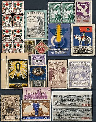 Europe & Usa , Old Nice Lot Of 26 Diff. Um/nh Poster Stamps Labels, See..  #b665