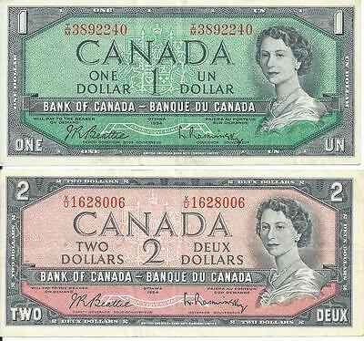 Bank of Canada Pair $1 and $2 Currency Notes 1954 pick 75b and 76b XF both notes