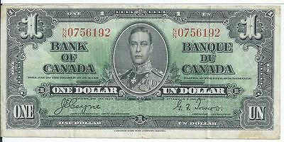Bank of Canada $1 Jan 2 1937  Currency Note # NN0756192 Very Fine