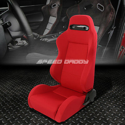 Type-R Fully Reclinable Upholstery Racing Seat+Mount Slider Red Driver Left Side