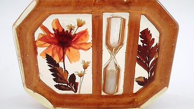 1960s Design Gifts International Lucite Acrylic Dried Flower Hourglass Egg Timer