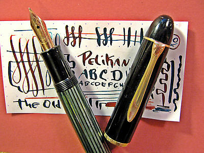 vtg Pelikan Semi Flex 14K Gold F Nib 140 Fountain Pen Restored & Clean Flexible
