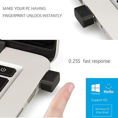Mini USB Fingerprint Reader Lock Security 360° Touch Recognition for Win 10 E0O4
