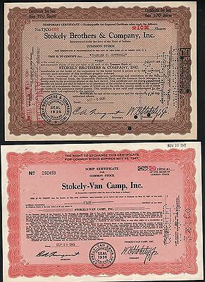 2 Stks-Stokeley Borthers & Co.Inc. 1936 Stokely-Van Camp 1945 Indiana canners