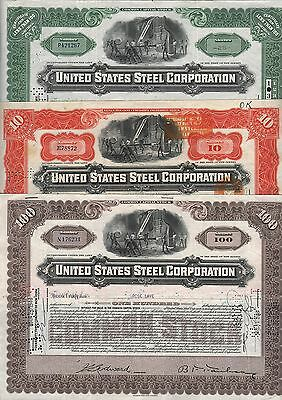 3 Stks-United States Steel Corp. 1946 Green 1934 Orange  1946 Brown