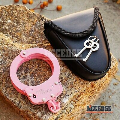 Real Professional Police PINK HANDCUFFS Heavy Duty DOUBLE LOCK Authentic w/Keys
