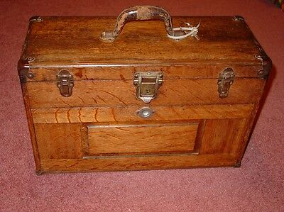 Vintage H. Gerstner & Sons Oak 7 Drawer Machinist Tool Chest Box with Key