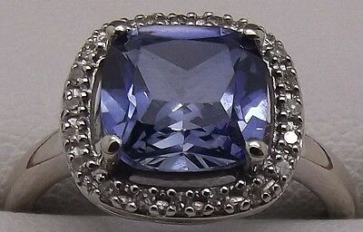 Solid 9Ct White Gold Natural Diamond & Synthetic Sapphire Engagement/dress Ring