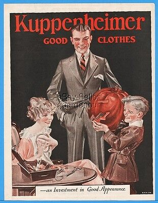 1922 Kuppenheimer Men's Suit Clothes Boy With Pumpkin JC Leyendecker Art Ad