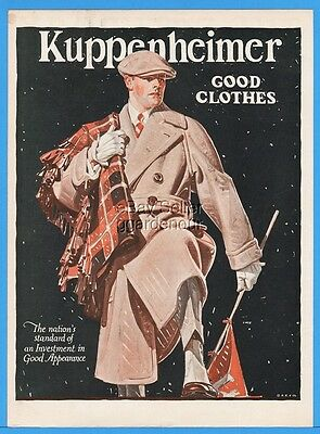 1922 Kuppenheimer Men's Overcoat Clothes Football Theme JC Leyendecker Art Ad
