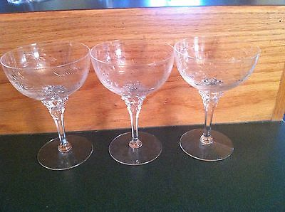 3 TIFFIN MARIPOSA Cut Crystal Champagne Tall Sherbet Glasses & 1 Liquor Cocktail