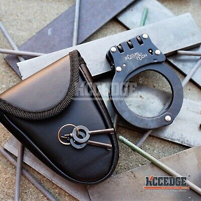 Special Force Double Lock Hinge Steel Handcuffs BLACK METAL TACTICAL DUTY w/Keys