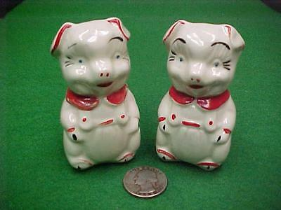 Laughing Pigs In Overalls Excellent Paint Salt Pepper Shakers American Bisque