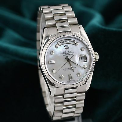 Preowned Rolex Daydate 18239 18k White Gold MOP Diamonds / Fluted 36mm Watch