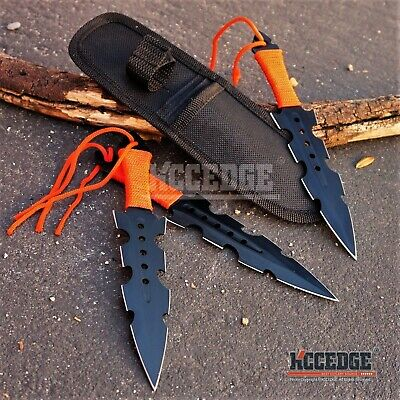 "3PC 7.5"" BLACK MILITARY NINJA KUNAI COMBAT Throwing Knife Set  w/Sheath Survival"