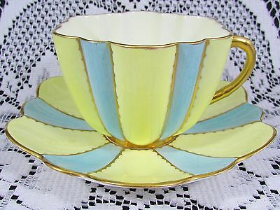 Rare Shelley Blue & Yellow Panels Art Deco Tea Cup And Saucer