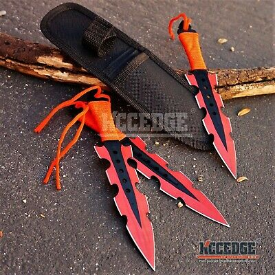 "3PC 7.5"" RED MILITARY NINJA KUNAI COMBAT Throwing Knife Set Survival w/Sheath"