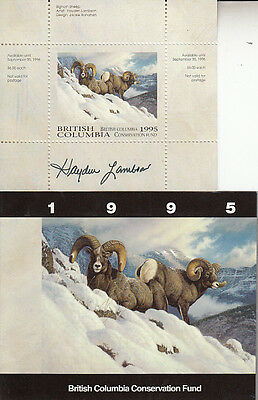 Canada British Columbia MNH Conservation 1995 SIGNED Van Dam BCC1a   Value $ 36