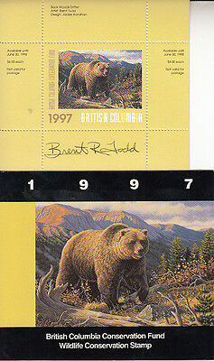 Canada British Columbia MNH Conservation 1997 SIGNED Van Dam BCC3a   Value $ 29.
