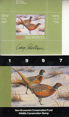 Canada New Brunswick MNH Conservation SIGNED 1997 Van Dam NBW4a   Value $ 29.00