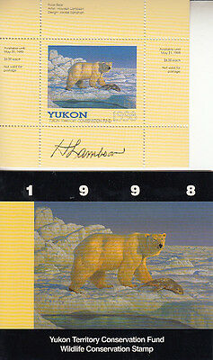 Canada YUKON 1998 SIGNED MNH Conservation  Van Dam YW3a   Value $ 26.00