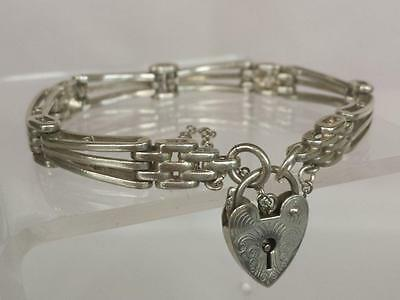 Gate Bracelet Heart Padlock 3 Bar English Marks Sterling Silver Solid 16 grams