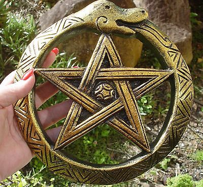 OUROBOROS & PENTAGRAM SNAKE WALL PLAQUE 200 mm Wicca Pagan Witch Goth