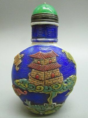 Chinese House Bat Lucky Carved Peking Overlay Glass Snuff Bottle