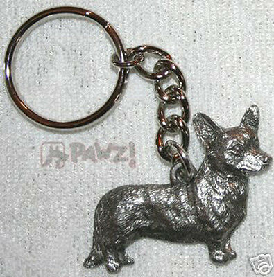 CORGI CARDIGAN Welsh Dog Fine Pewter Keychain Key Chain Ring