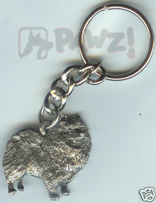 KEESHOND Dog Fine Pewter Keychain Key Chain Ring NEW