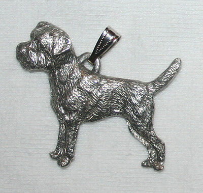 Border Terrier Dog Harris Fine Pewter Pendant USA Made